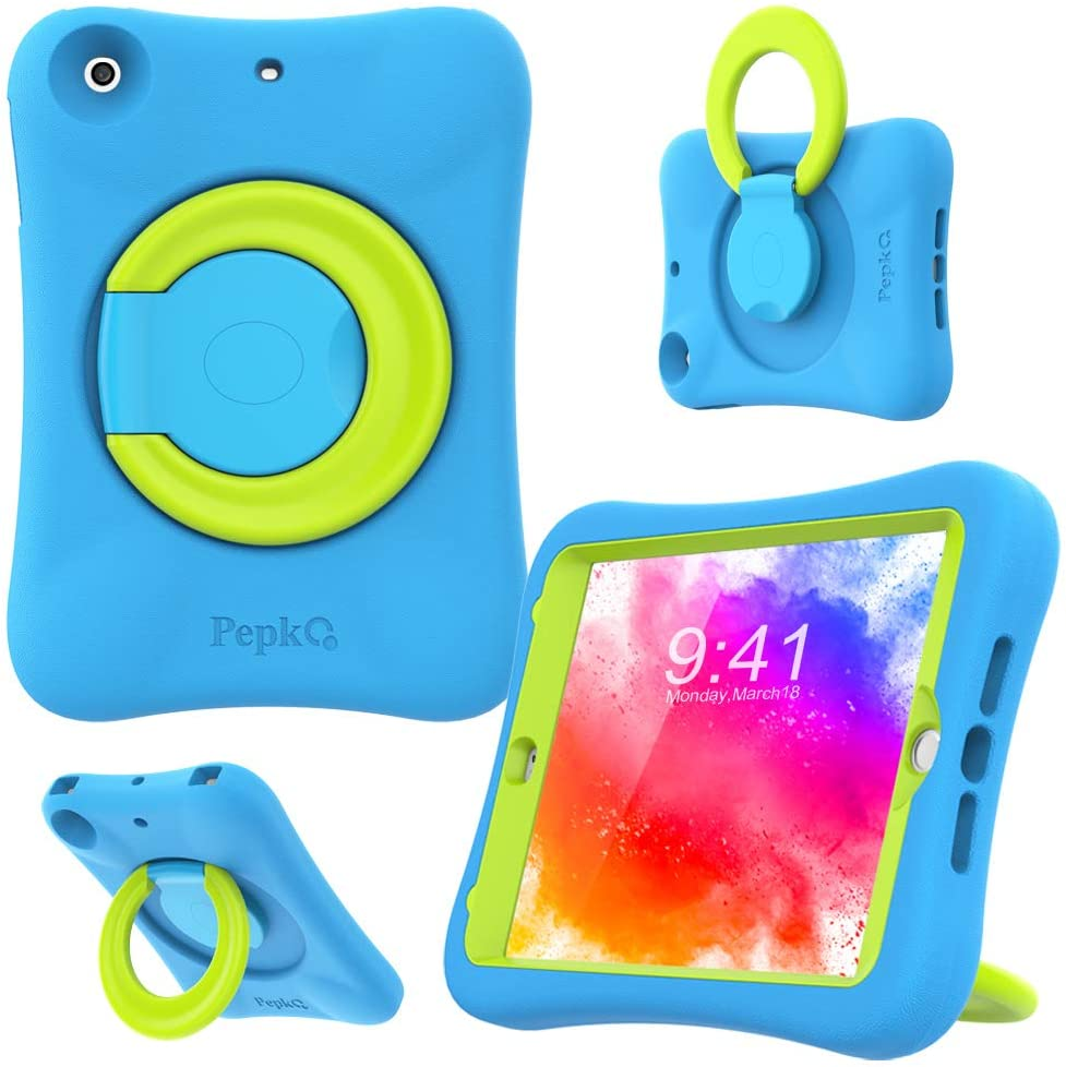 PEPKOO Kids Case for iPad Mini 1 2 3 – Lightweight Flexible Shockproof, Folding Handle Stand, Full Body Rugged Boys Girls Cover for Apple iPad Mini 1st Generation 2nd Gen 3rd Gen 7.9 inch, Blue Green