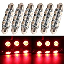 """Everbright 6-Pack Red 44MM 1.72"""" 5050 Chipes 12-SMD 211-2 212-2 569 578 LED Festoon Interior Map / Dome Dome / Trunk / Glove Box Lights LED Lamp (DC-12V)"""