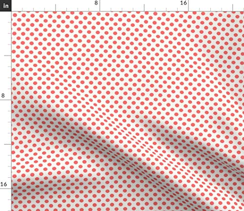 Spoonflower Coral Pink red Spots Fabric - Coral and White Coral and White Polka Dot Persimmon French Country Pink Red Orange by Mjmstudio Printed on Petal Signature Cotton Fabric by The Yard