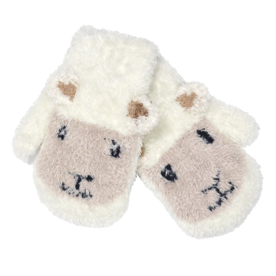 Patrick Francis Ireland Kids Woolly Sheep Face Mittens, Cream Colour PF7383