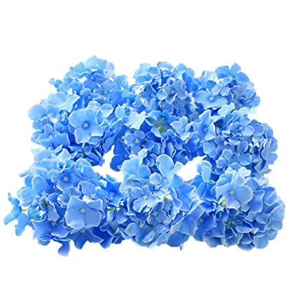 Stupendous Veryhome 12Pcs Blooming Silk Hydrangea Flower Heads For Diy Bouquets Wedding Centerpieces Home Decor Sky Blue Home Interior And Landscaping Fragforummapetitesourisinfo