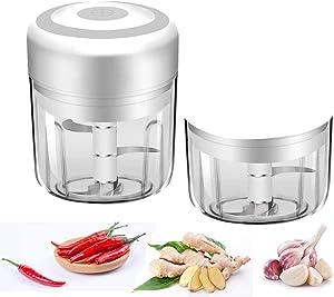 Electric Mini Garlic Chopper, Food Processor Mincer Blender Mixer, Portable Garlic Blender Mini Chopper Food Processor For Pepper Chili Vegetable Nuts Meat (White 100ml&250ml)