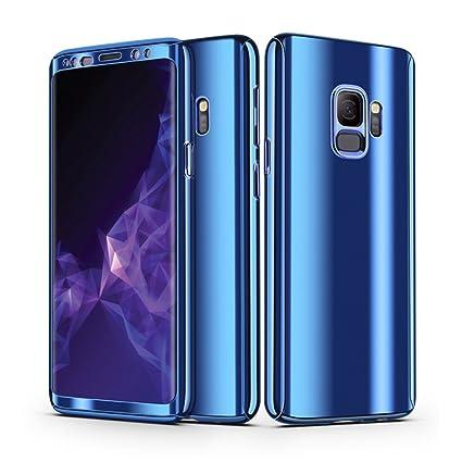 dc3364a2a96 Galaxy S9 Plus Funda, CHENXI Plating Metálico Chapado Espejo Estuche  Protector 360 Grados protección Completa PC Bumper Aluminio Carcasa Caso  Case ...