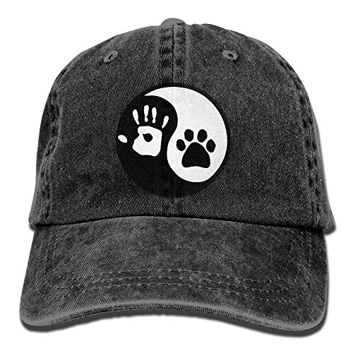 Yin Yang Paw Palm Print Adult Cowboy Baseball Caps Denim Hats for Men Women