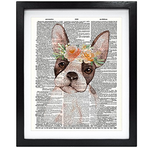 - Susie Arts 8X10 Unframed Dog with Flowers Boston Terrier Upcycled Vintage Dictionary Art Print Book Art Print Home Decor Wall Art V088