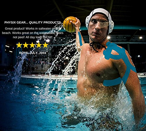 Physix Gear Sport 6 Pack Kinesiology Tape - Free Illustrated E-Guide - 16ft Uncut Roll - Best Pain Relief Adhesive for Muscles, Shin Splints Knee & Shoulder - 24/7 Waterproof Therapeutic Aid (Blue) by Physix Gear Sport (Image #4)