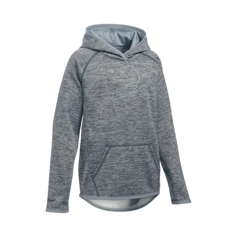 Under Armour Girls' Armour Fleece Novelty Jumbo Logo Hoodie, Stealth Gray (008)/Steel, Youth Medium by Under Armour