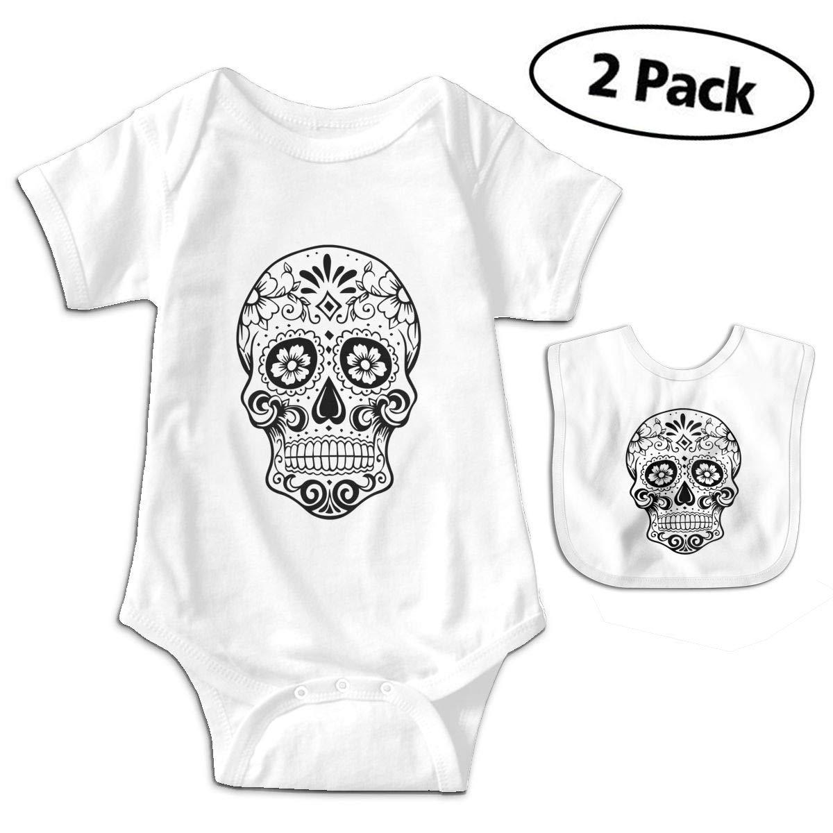 Black /& White Sugar Skull Infant Baby Boys Girls Short Sleeve Romper Bodysuit Outfit Clothes