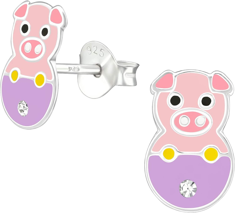 Tata Giselle - Pendientes infantiles de plata 925/000 rodiada, epoxi y cristal – cerdo rosa, violeta, malva, con brillantes – 8 mm