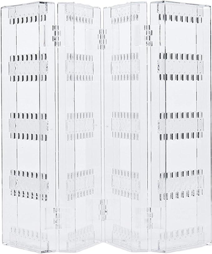 4-Panel Pliable Transparent Acrylique Bijoux Pr/ésentoir Rack Titulaire Organisateur pour Boucles Doreilles Goujons Collier Bracelets