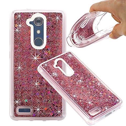 ZTE ZMAX Pro Case, ZTE Carry Z981 Case, NOKEA Soft TPU Flowing Liquid Floating Luxury Bling Glitter Sparkle Case Cover Fashion Design for ZTE ZMAX Pro / Carry Z981 (Rose (Zte Zmax Phone Case Animals)