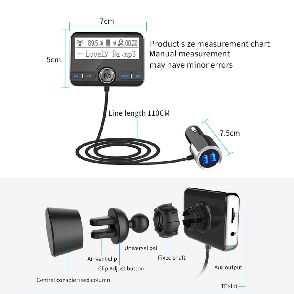 Car Charger EDR FM Transmitter Wireless Radio DAB Car Adapter QC3.0 Handsfree Car Kits MP3 Player Radio Adapter 2.4In Display Dual USB with 3M Antenna and 3.5mm AUX Womdee DAB