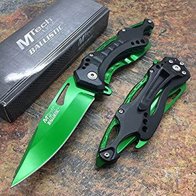 M-Tech Spring Assisted Green Blade TI-Coated Aluminum Tactical Pocket Knife!