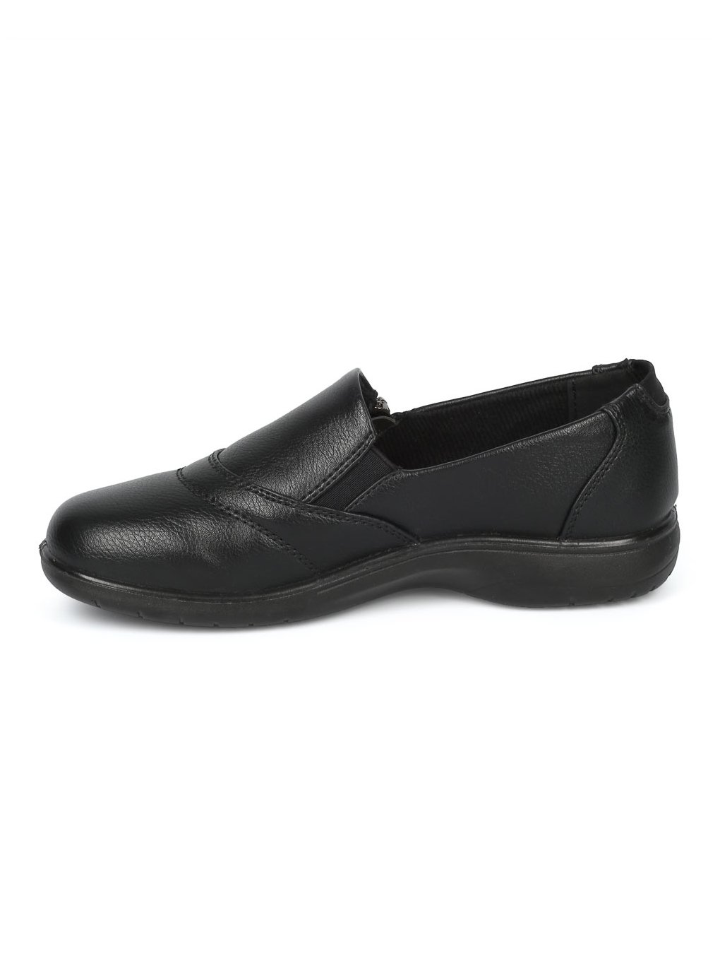 Alrisco Women Leatherette Round Toe Elevated Heel Work Loafer HD92 - Black Leatherette (Size: 7.0) by Alrisco (Image #4)