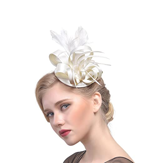 031317b0602 YSJOY Womens Fascinator Hair Clip Derby Hat Feather Flower Wedding Cocktail  Party Bowler Hat Tea Party