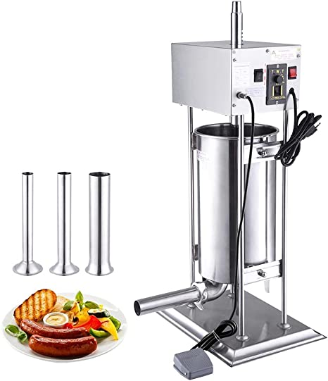 32Lbs 15L Commercial Electric SS Vertical Sausage Stuffer Variable Speed Control Quick Removable Barrel Design Foot Pedal Switch US Delivery