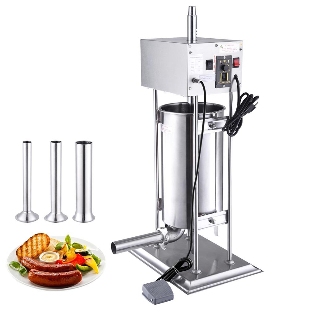 Yescom 15L Electric Sausage Stuffer Vertical Stainless Steel Meat Filler w/4 Stuffing Tubes Commercial Restaurant