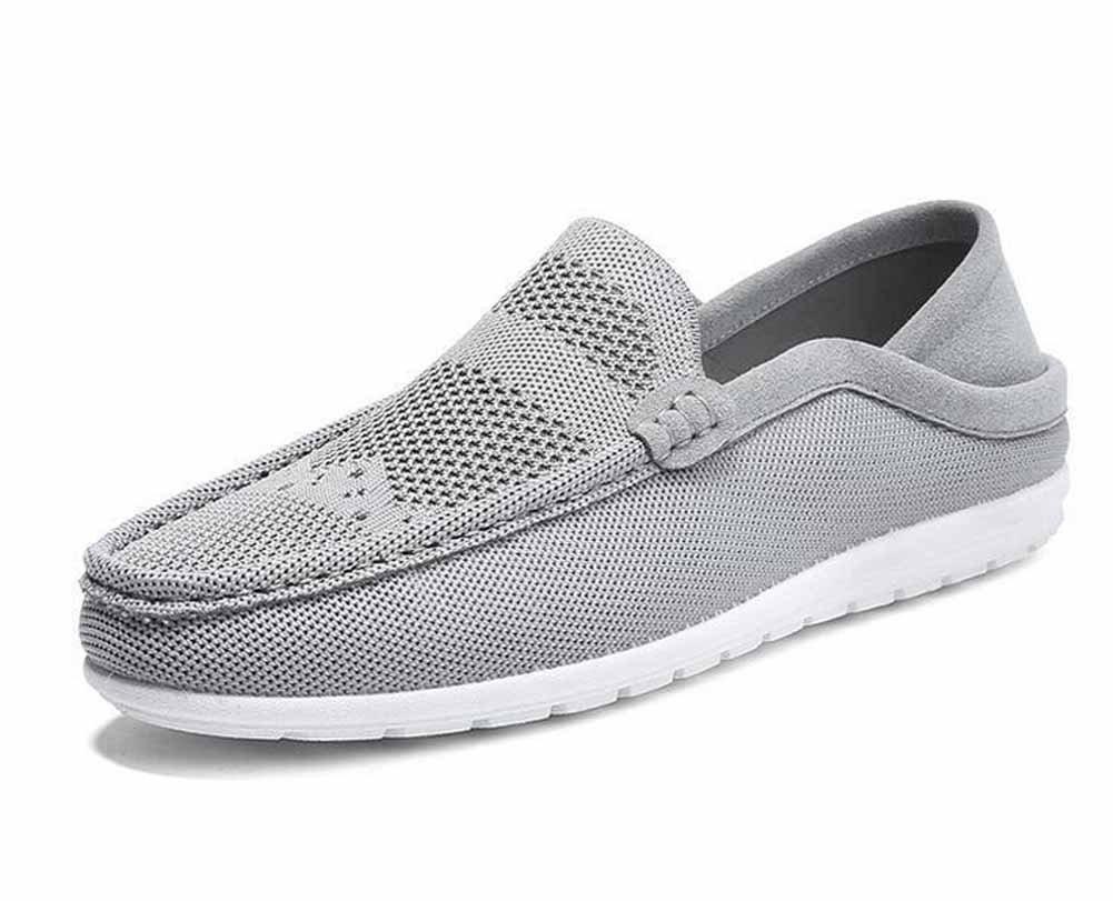 GLSHI Männer Leichte Loafer Sommer Strickstoff Atmungsaktiv Freizeitschuhe Bequeme Fahr Schuhe