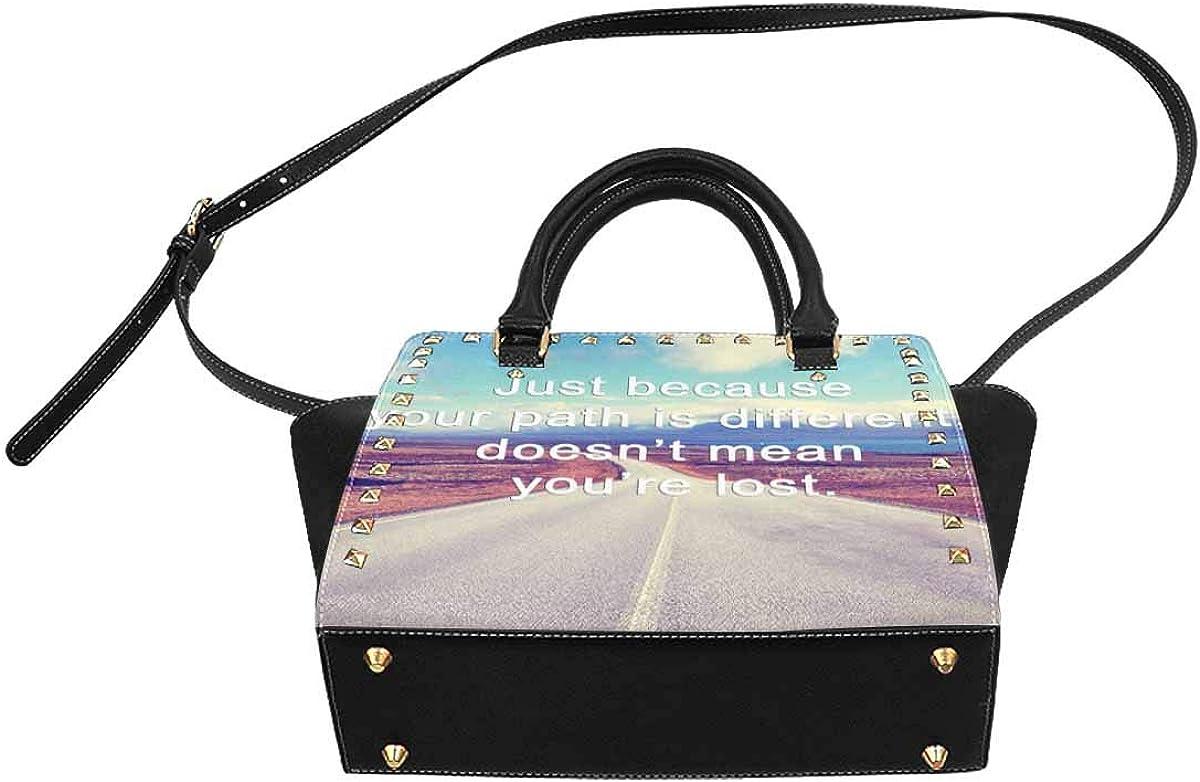 INTERESTPRINT Life Word with Phrase PU Leather Tote Shoulder Bag Work Bag handbag