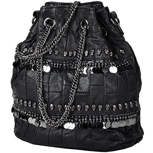 de bolsa negro mujer negro calavera diamantes Bolso con hombro para de Negro gCwnFq