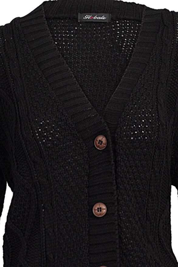 fe78f293b2 My1stWish Women s 52I Knitted Aran Button Up Cardigan at Amazon Women s  Clothing store