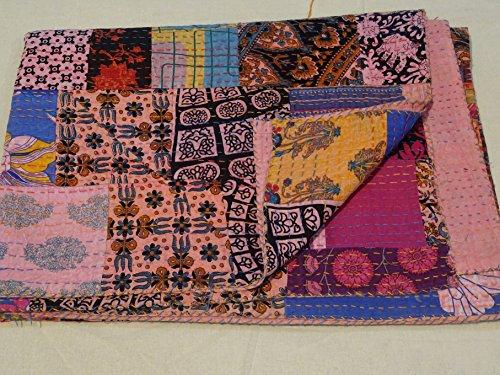 Tribal Asian Textiles Block Print Patch Work Kantha Quilt , Kantha Blanket Bedspread, Patch Kantha Throw, Queen Kantha, Kantha Rallies Indian Sari Quilt 006 ()