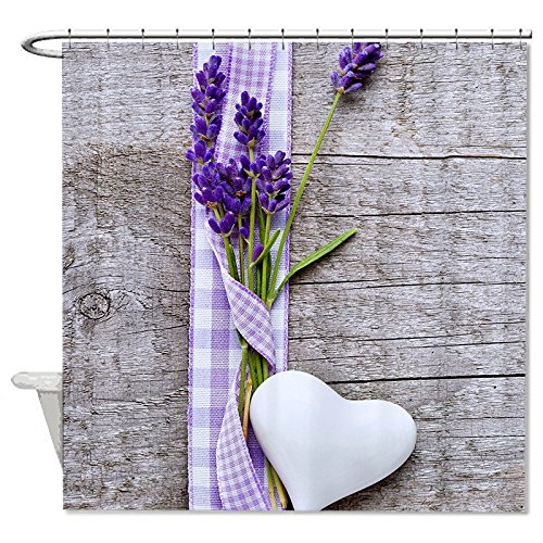JKYUKO Rustic Western Country Wood With Lavender Shower Curtain 60u0026quot; ...