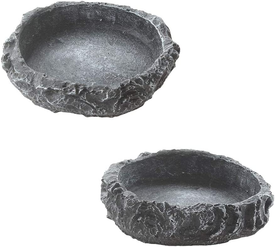 emours 2 Pack Reptile Water Dish Food Bowl Rock Worm Feeder for Leopard Gecko Lizard Spider Scorpion Chameleon
