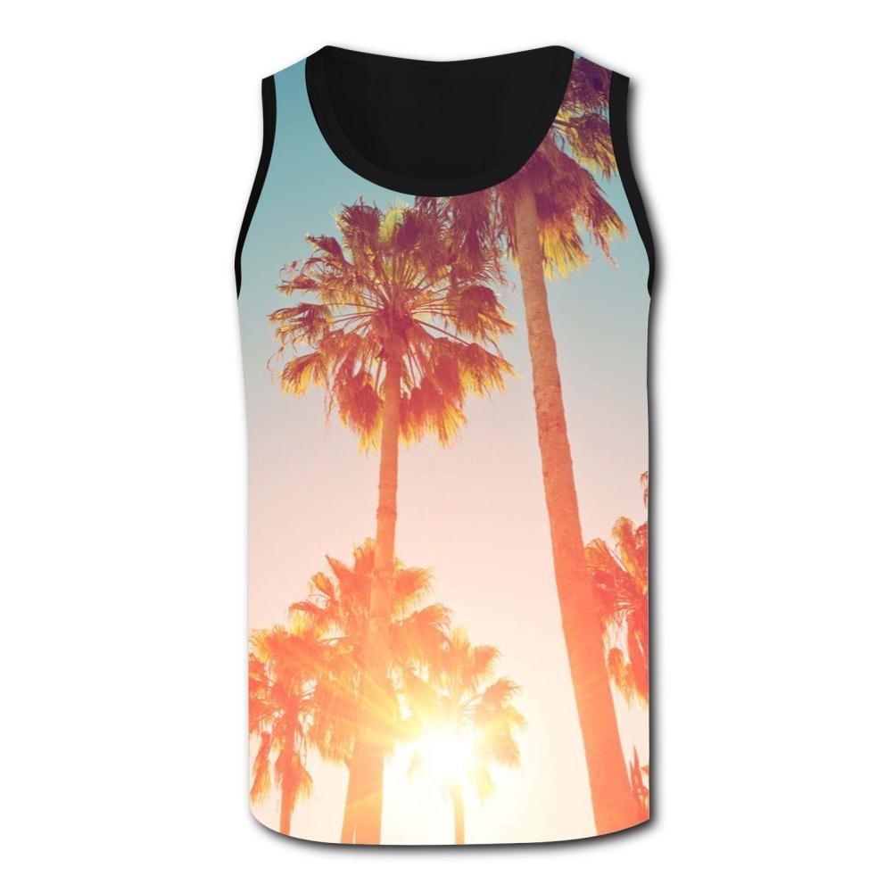 Gjghsj2 Tropical Palm Trees Tank Top Vest Shirts Singlet Tops Sleeveless Underwaist for Men Yoga