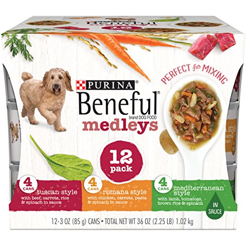 Purina Beneful Medleys Tuscan, Romana and Mediterranean Style Adult Wet Dog Food Variety Pack - Two (2) Packs of Twelve (12) 3 oz. - Mix Food Dog
