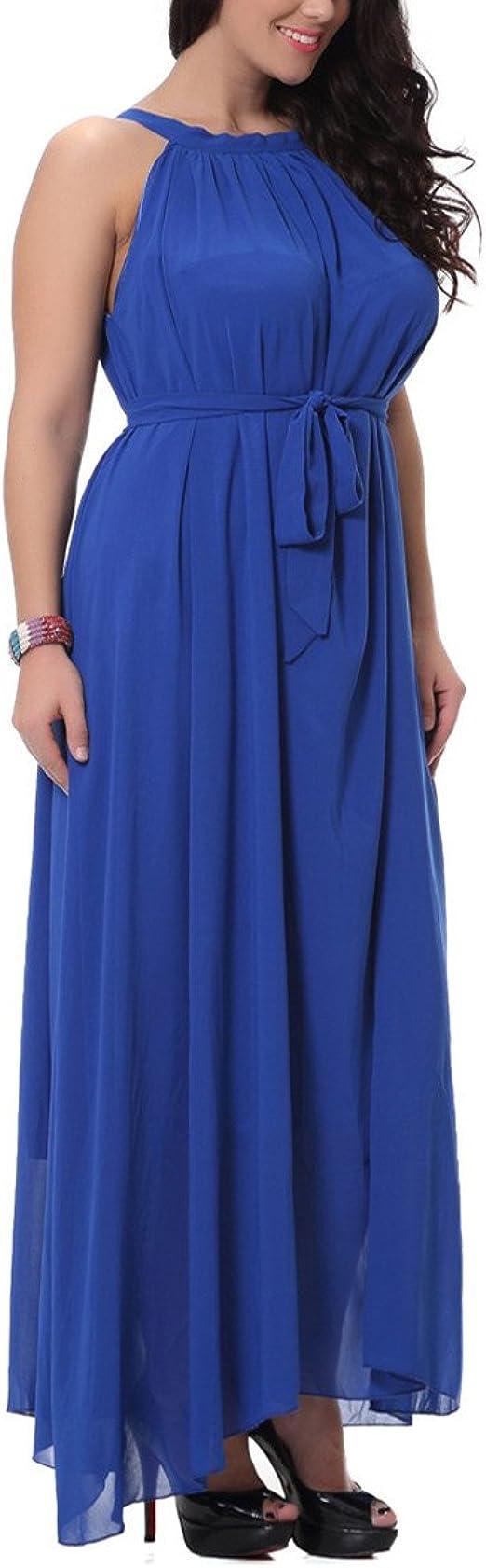 LUCYYA Womens Plus Size Sleeveless Scoop Neck Belted Pleated Chiffon Swing Dress,Blue-XXXXXXL