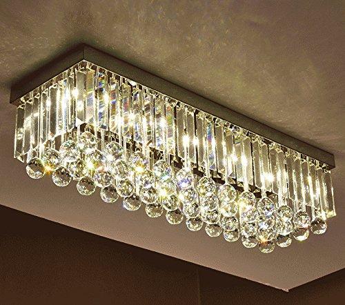 Moooni rectangular crystal chandelier modern flush mount ceiling moooni rectangular crystal chandelier modern flush mount ceiling light fixture 32quot x w10quot raindrop aloadofball Image collections