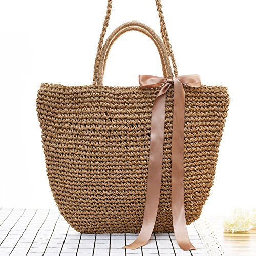 Shoulder Casual Durable Weave Female HandRattan Kimiyar Hobos Beach Women SS0387 Bucket Straw Black Summer Bags nw7qgvY7
