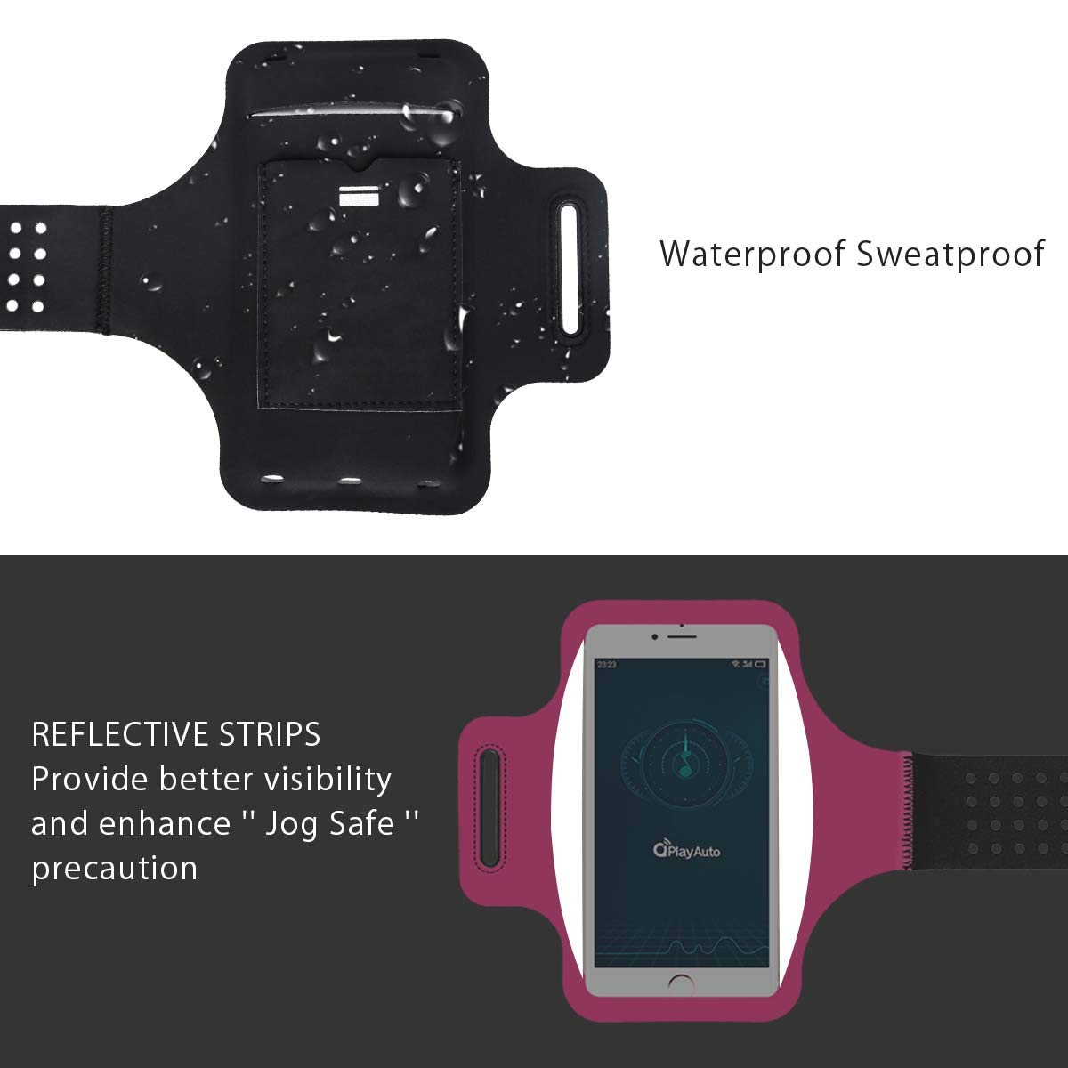 Up To 6.5 inches Sports Armband Phone Case Holder Samsung Galaxy A 50s//A 30s//S10//S9//S8//S7//S6//S5 Reflective strip Armband Sweatproof Guzack Running Armband for iPhone 11//11 Pro//X//XR//XS//8//7//6s