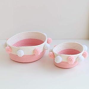 Handmade Wool Ball Cotton Rope Storage Basket, Desktop Baby Finishing Debris Organizer for Toy Book Cosmetic 2 Pack (Pink)