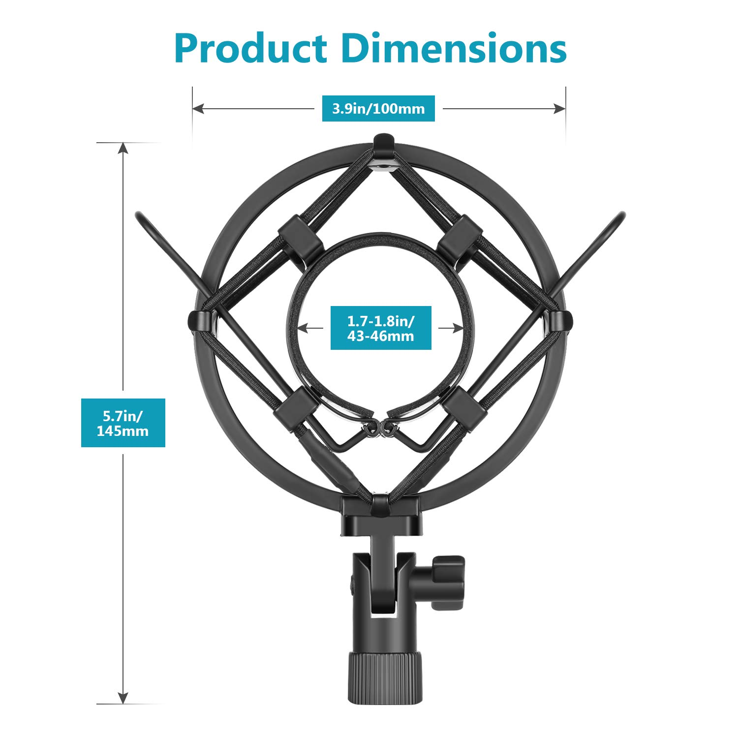 Neewer Universal Microphone Shock Mount Holder Anti Vibration Suspension  for Condenser Microphone, Idea for Radio Broadcasting Studio Voice-over  Sound