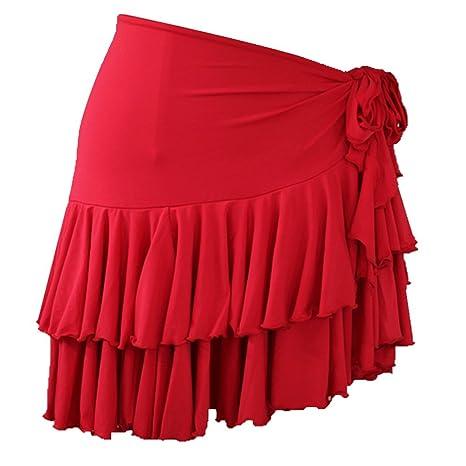 Falda de Baile Latino para Mujeres Práctica Ropa de Baile Lazos ...