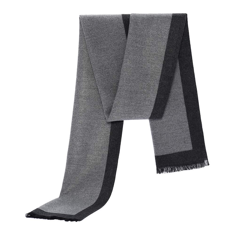 Écharpe pour Homme en Coton Hiver Style Simple Treillis Longue Épaissir  Classique Gland Foulard 389cf7b235e