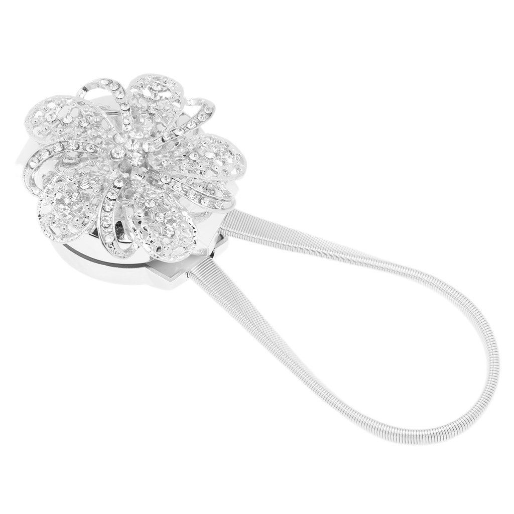 Silver Baoblaze Pair Decorative Rhinestone Flower Design Magnetic Curtain Buckle Chain Window Drapery Tieback Holdbacks Clips with Stretchable String Rope