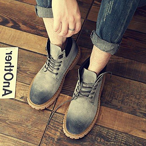 HL-PYL-Stivali Stivali di Martin, gli uomini di alta scarpe, la carteggiatura e la levigatura su antico e giallo tempo libero,38,grigio