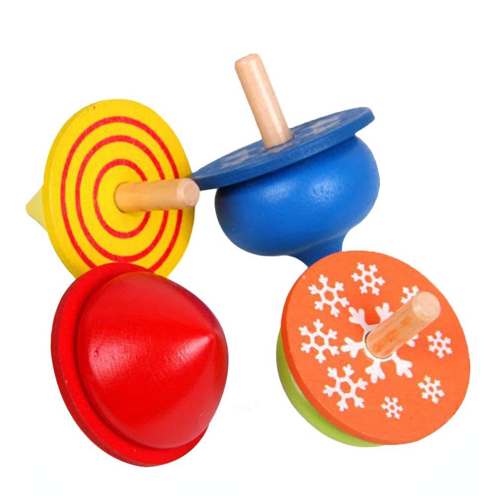 STOBOK 4ピース 子供 幼児 教育玩具 木製 ハンドメイド スピニングトップ カラー ジャイロ 男の子 女の子用   B07L8YHHY6