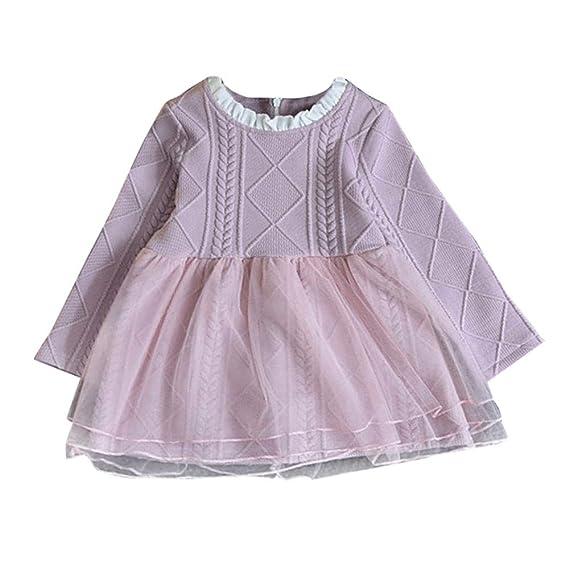 Feixiang Ropa para niños niños bebé niña suéter Hecho Punto Invierno Pullover Crochet Tutu Vestido de