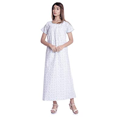 da95e457c1d Image Unavailable. Image not available for. Color  Nightwear Long Gown  Hippie Nighty Dress Flower Print Sleepwear Gown White