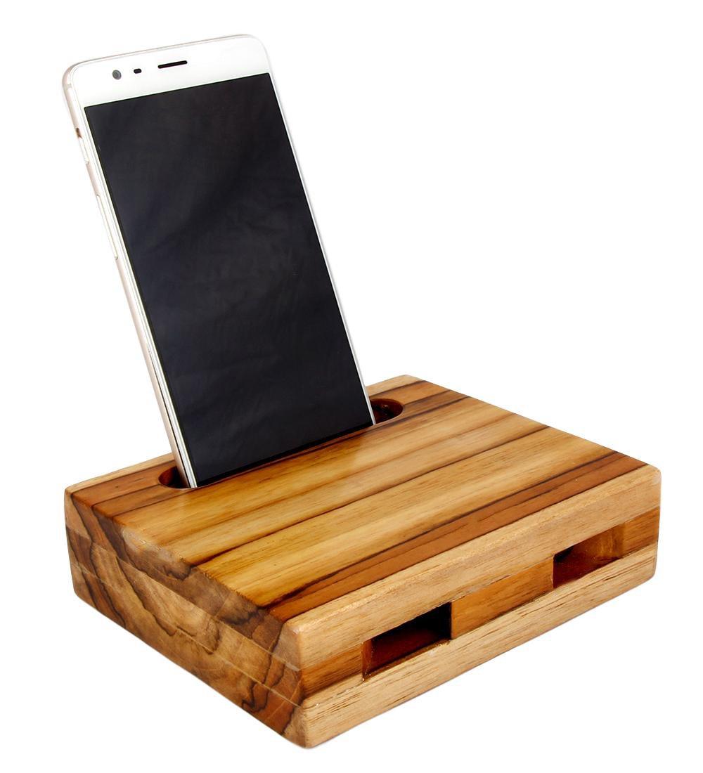 Mojopanda Teak Wood Phone Sound Amplifier Trumpet Holder Amplifier Loudspeaker for Phone Desktop Decoration, Phone Dock & Wood Speaker