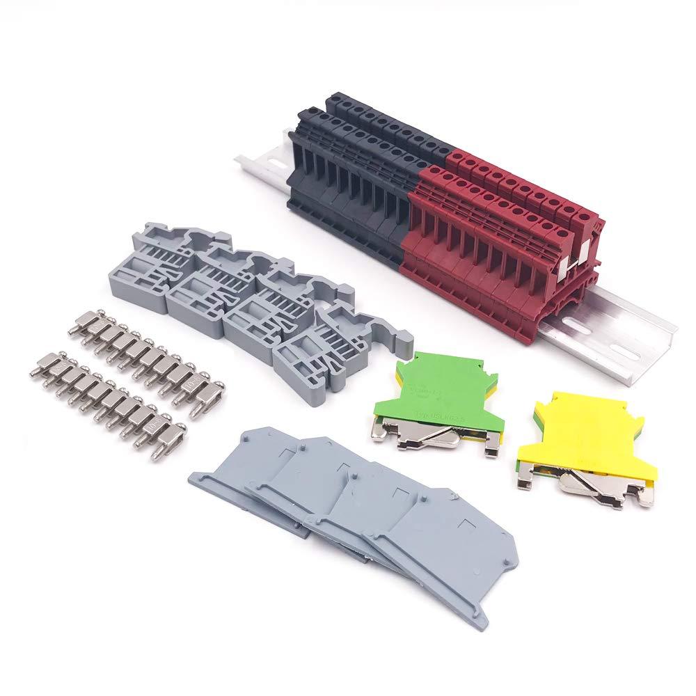 Erayco DIN Rail Terminal Blocks Kit, 20Pcs UK-2.5N 12 AWG Terminal Blocks, 2Pcs Ground Blocks, 2Pcs Terminal Fixed Bridge Jumpers, 4Pcs End Brackets, 4Pcs UK-2.5BG End Covers, 1Pcs 8'' Aluminum Rail