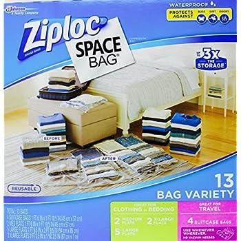 Ziploc Space Bag- Vacuum Seal Bag- 13 Bag Variety- 4 Travel, 2 Med, 5 Lrg, 2 XL