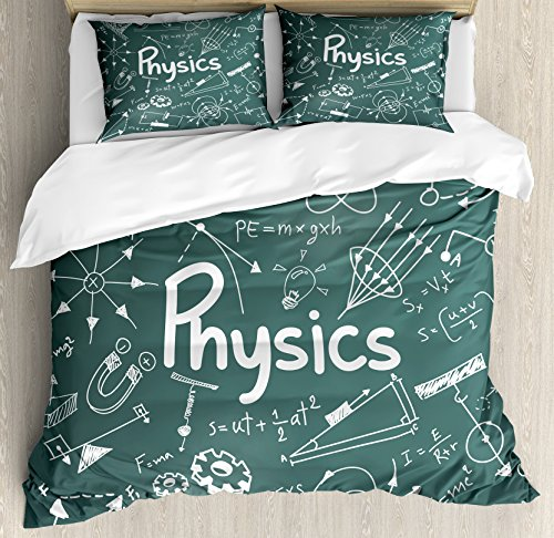 Ambesonne Doodle Queen Size Duvet Cover Set, Physics Science