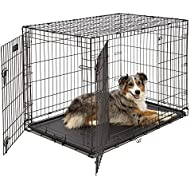 Large Dog Crate | MidWest iCrate Double Door Folding Metal Dog Crate|Large Dog, Black
