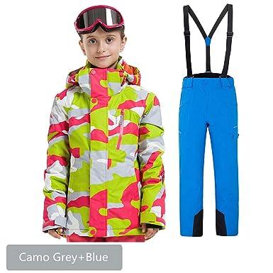 58692153c Amazon.com  Boys Girls Waterproof Ski Suit Kids Hooded Snowboard ...