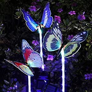 YUNLIGHTS 3pcs Garden Solar Lights Outdoor Garden Stake Lights Multi-color Changing LED Fiber Optic Butterfly Garden Solar Lights with Purple LED Light Stake for Garden Patio Backyard Decoration